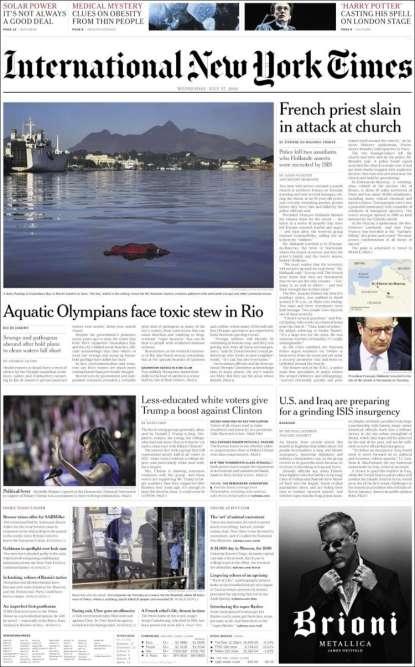En « une»de l'édition internationale du« New York Times», une photo de François Hollande et ce titre:« Un prêtre français tué dans l'attaque d'une église».
