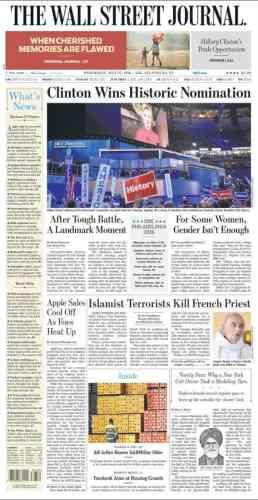 Le «Wall Street journal» publie également sur sa « une»une photo du prêtre tué par des« terroristes islamistes».
