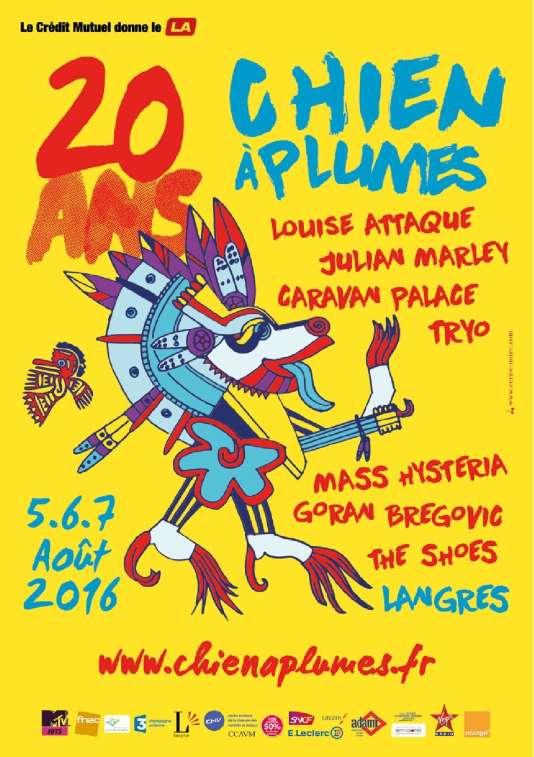 L'affiche du festival Chien à plumes qui fête ses 20 ans du 5 au 7 août.