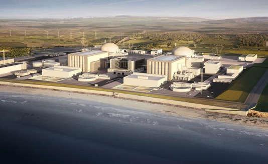 Une projection réalisée par EDF du projet d'EPR d'Hinkley Point, dans le sud-ouest de l'Angleterre.
