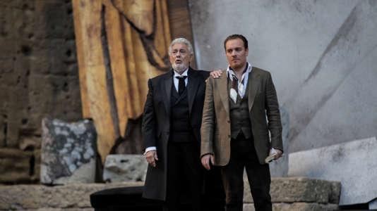 Placido Domingo (Germont) et Francesco Meli (Alfredo) au cours d'une répétition de«La Traviata»aux Chorégies d'Orange.