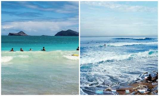 La plage Waimanalo, à Hawaii (à gauche) et celle de Guéthary (à droite), où naît la fameuse vague de Parlementia.