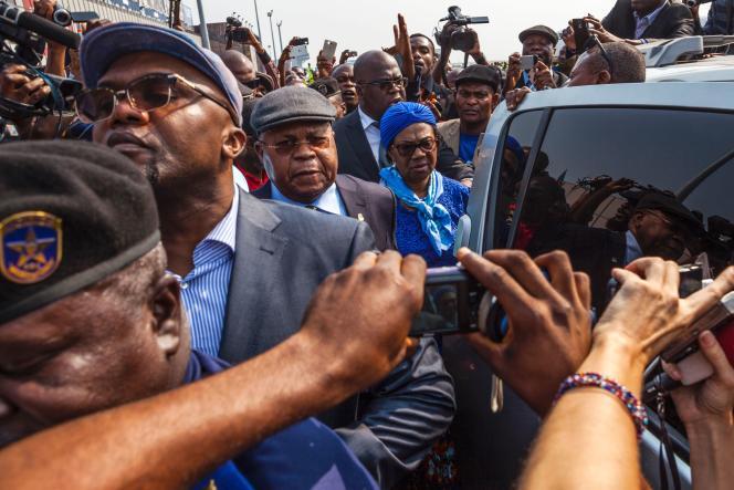 L'opposanthistorique, Etienne Tshisekedi, lors de son arrivée à Kinshasa le 27 juillet.