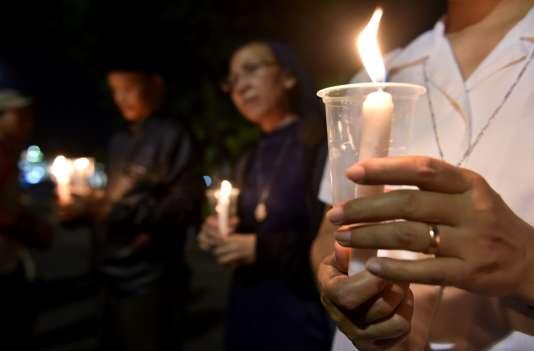 Manifestation contre les exécutions de détenus à Djakarta, en Indonésie, le 28juillet.