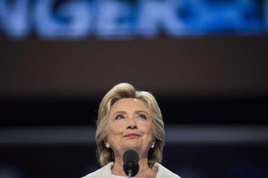 La candidate démocrate, Hillary Clinton, lors de son discours d'investiture à Philadelphie, jeudi 28 juillet 2016.