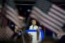 Hillary Clinton devant la convention démocrate à Philadephie le 28 juillet