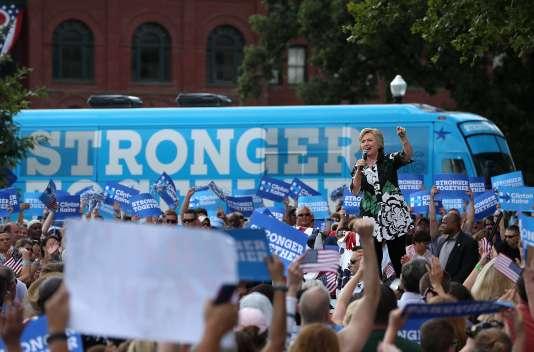 Hillary Clinton, lors d'un meeting de campagneà Columbus (Ohio), le 31 juillet.