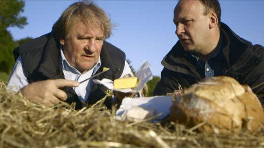 L'acteurGerard Depardieu et le chef Laurent Audiot, dans le Finistère.