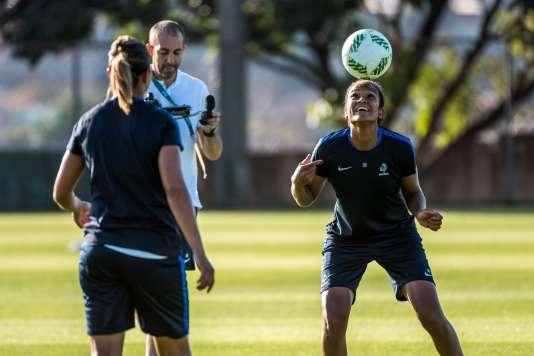 Wendie Renard s'entraîne pour les JO de Rio, le 1er août.