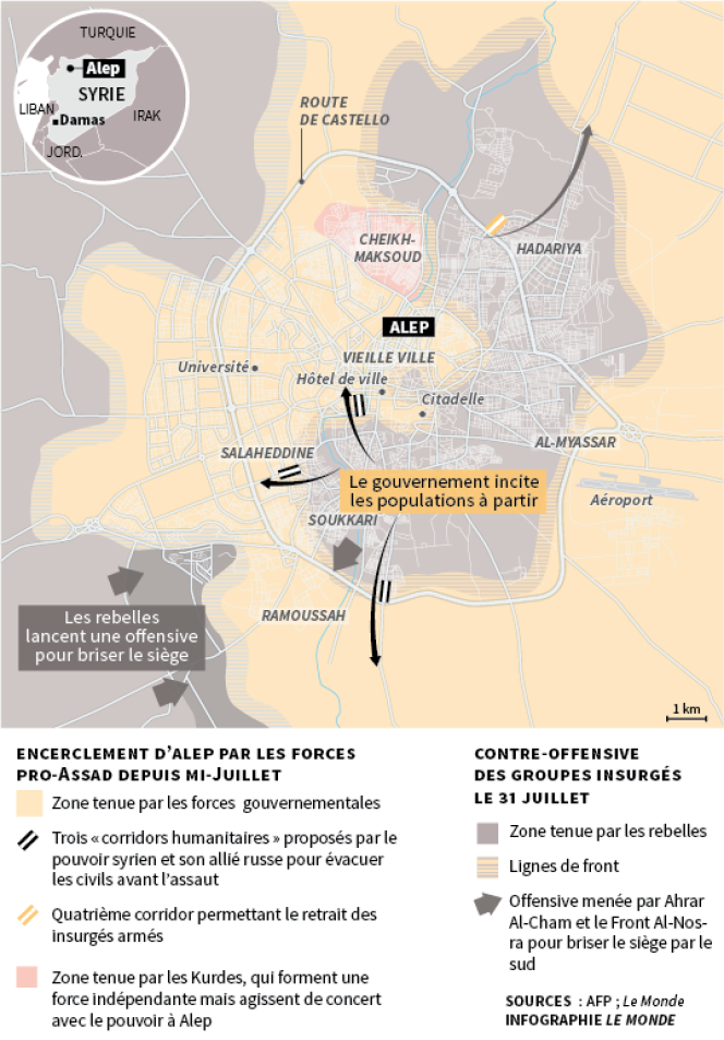 Carte du siège d'Alep, fin juillet 2016.