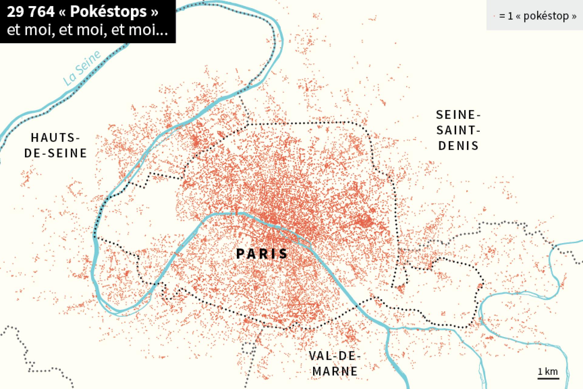 Carte générale des pokéstops de Paris et sa proche banlieue.