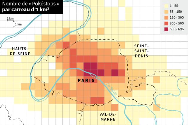 Répartition des pokéstops par zones d'un kilomètre carré.