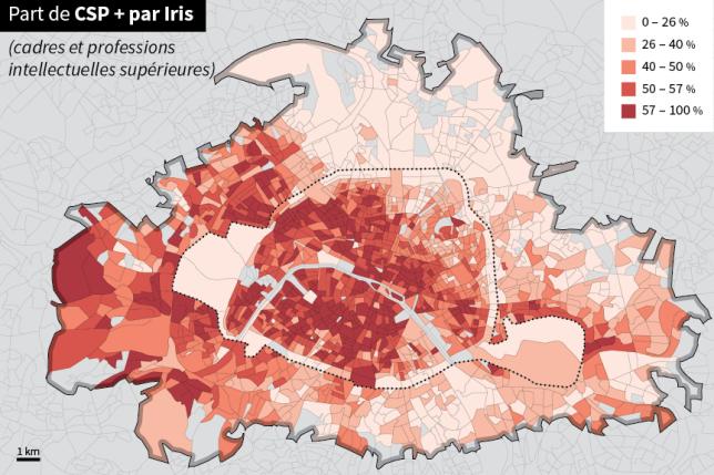 La répartition des classes supérieures par IRIS dans la région parisienne.