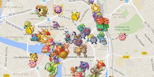 Pokevision indiquait la position des pokémons, comme ici à Toulouse.