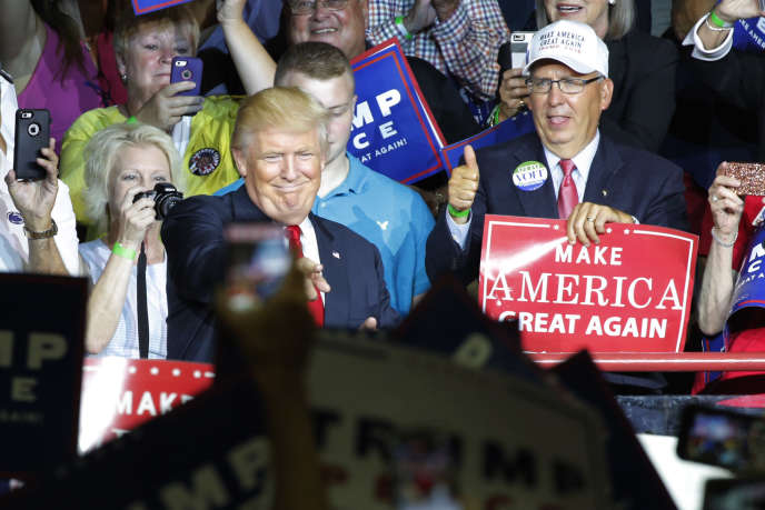 Le candidat républicain, Donald Trump, lors d'un meeting de campagne àMechanicsburg, en Pennsylvanie, lundi 1er août 2016.