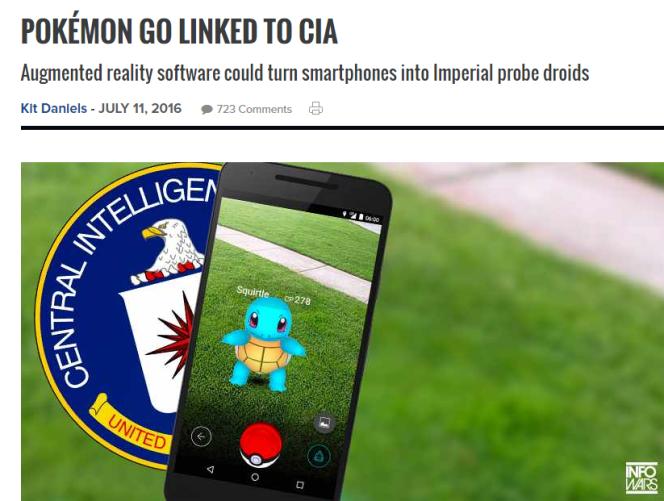 Capture d'écran du site américain à tendance conspirationniste infowars.com, qui affirme que Pokémon Go est « lié à la CIA».