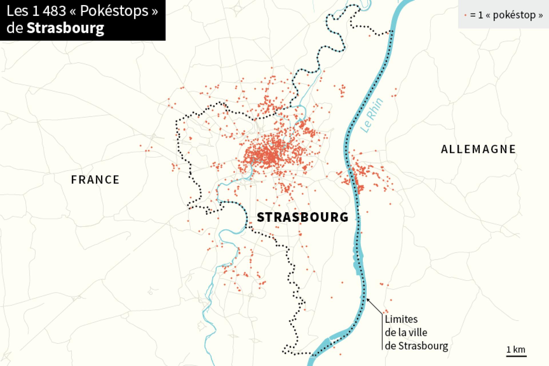 Localisation des pokéstops à Strasbourg et dans les environs de la ville.