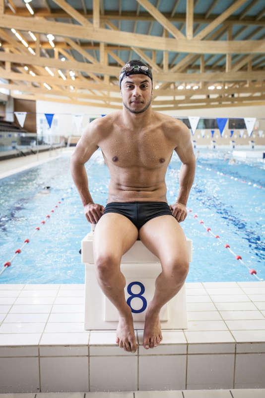 Rami Anis, le 6 juillet, à la piscine Rozebroeken de Gand (Belgique). Le nageur syrien de 25 ans, qui a fui Alep en octobre 2011,sera aligné sur le 100 m papillon à Rio.