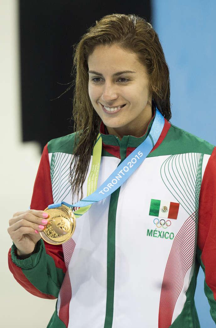 Paola Espinosa a remporté la médaille d'or au plongeonhaut vol (10 m) individuel lors des Jeux panaméricains, à Toronto, le 11 juillet 2015.
