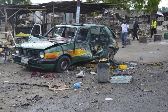 Attaque à la voiture piégée, le 31 juillet 2015, à Maiduguri, dans le nord du Nigeria.