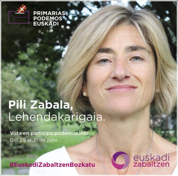 Pili Zabala sur une affiche de campagne de Podemos pour sa candidature au poste de «lehendakari» (chef du gouvernement basque).