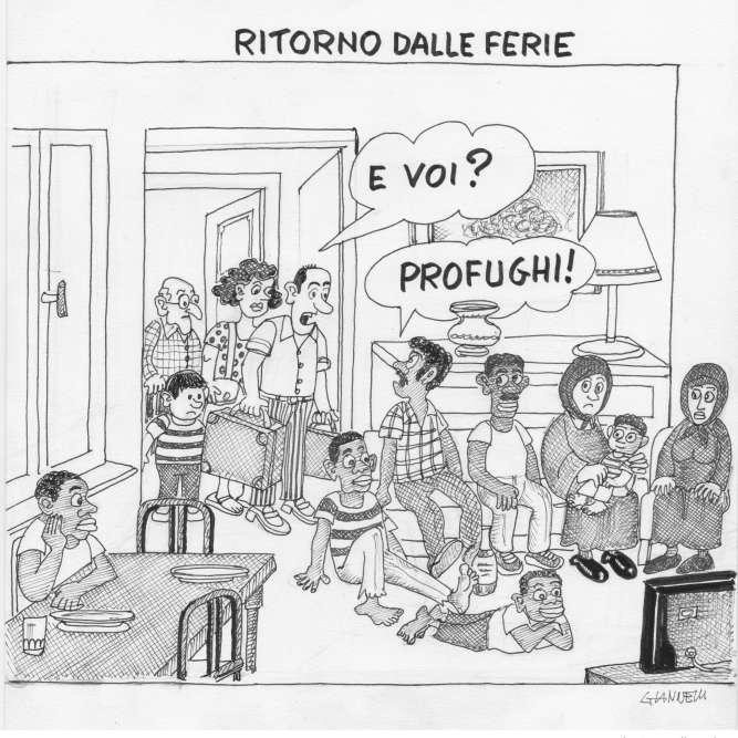 En 2015, la vague de migration en provenance de Syrie touche l'Italie. Ledessinateuremblématique du Corriere della Sera, Emilio Giannelli, publieundessin où l'on voit une famille italienne qui rentre de vacances et trouve son appartement occupé par des réfugiés. LaToile s'enflamme: le dessinateur a-t-il voulu relayer le fantasme d'une Italie peuplée d'immigrés ou, au contraire, s'en moquer? L'auteur devra publierune mise au point pour faire taire la polémique.Lire la suite dans l'article de Philippe Ridet.