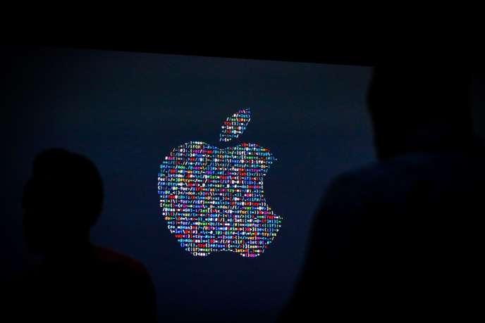 Le logo d'Apple lors de la Worldwide Developpers Conference de l'entreprise, le 13 juin.