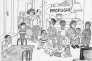« Retour de vacances », dessin d'Emilio Giannelli paru en « une » du « Corriere della Sera » le 18 juillet 2015. « Qui êtes-vous ? » demande l'homme debout. « Réfugiés ! » répond l'autre.