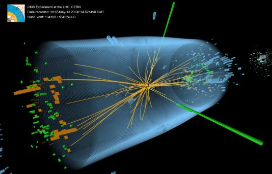 Une signature du boson de Higgs telle qu'apparue dans le détecteur CMS du Cern en mai 2012