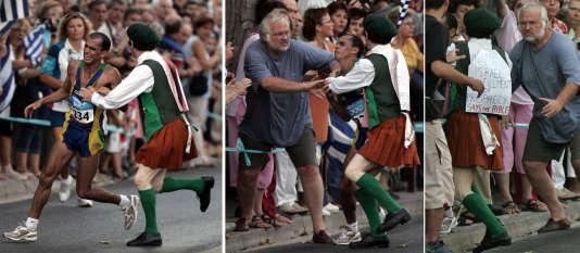 Le prêtre irlandaisCornelius Horan a agressé Vanderlei de Lima entre les kilomètres 35 et 36 du marathon des Jeux d'Athènes, en 2004, alors que le Brésilien menait la course. Il remportera finalement la médaille de bronze.