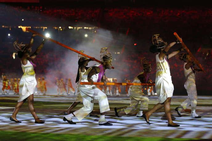Lors de la cérémonie d'ouverture des JO de Rio.