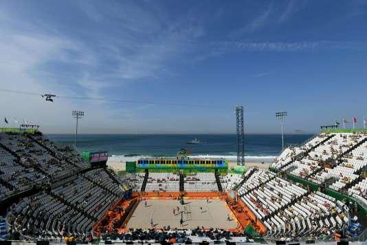 La beach volley Arena, le 6 août, à Copacabana.