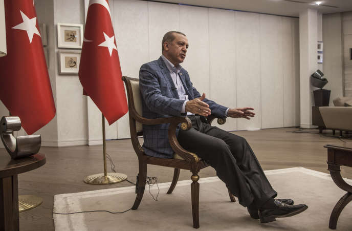 The President of Turkey, Recep Tayyip Erdogan, in his palace, in Istanbul, August 6th.