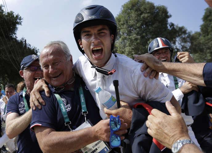 Astier Nicolas en pleine célébration, mardi 9 août 2016, à Rio de Janeiro.