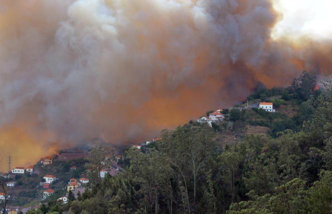 Le feu s'approche des maisons à Curral dos Romeiros, dans la banlieue de Funchal, mardi 9 août 2016.