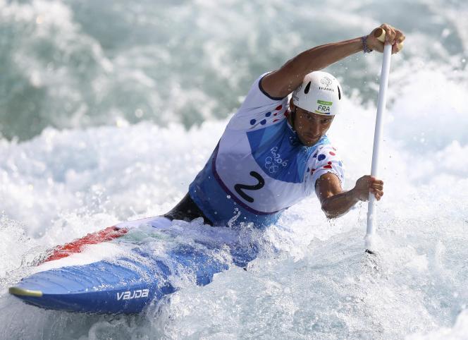 Denis Gargaud-Chanut, lors de la demi-finale du C1 slalom à Rio de Janeiro, le 9août.