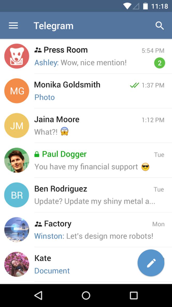 L'interface de Telegram sur téléphone mobile.