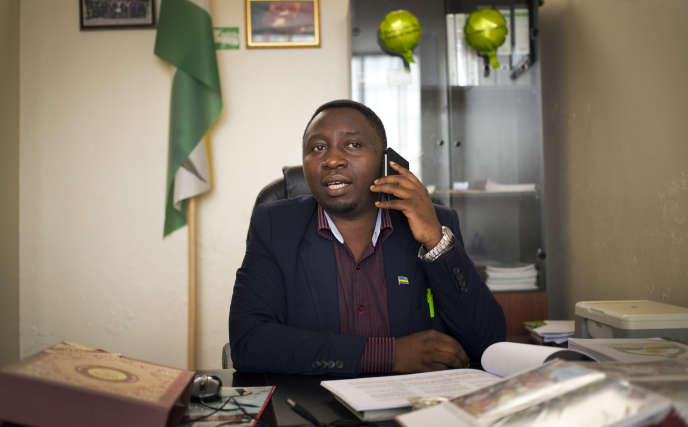 Frank Habineza, le président du Parti vert démocratique, dans son bureau à Kigali en mars 2014.