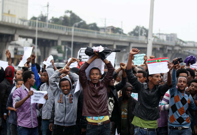Manifestation à Adis-Abeba, le 6 août, contre les inégalités dans le pays.