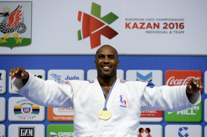 Teddy Riner après son cinquième titre européen obtenu à Kazan (Russie) le 23 avril.