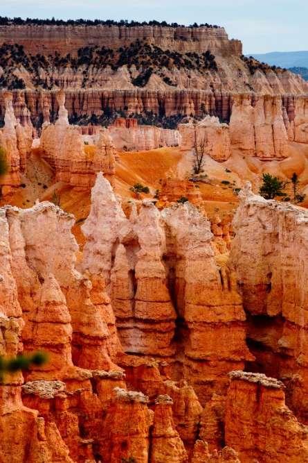 L'amphithéâtre deBryce Canyon (Utah) et ses « hoodoos »,formations dues à l'érosion.
