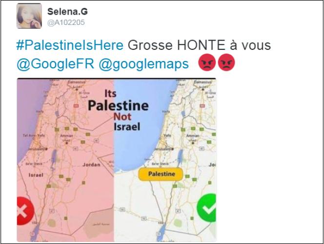 Capture d'écran d'un message accusant Google d'avoir« supprimé» la Palestine.