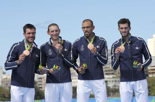 Les rameurs en bronze, le 11 août à Rio.