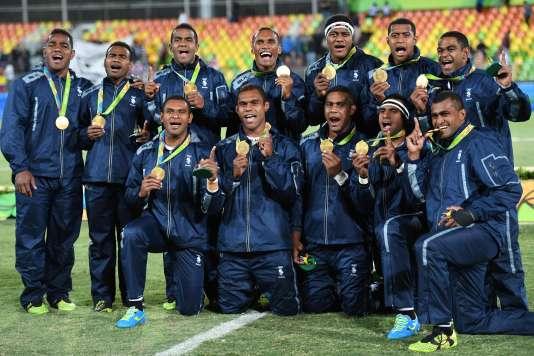 Les rugbymen des Fidji, le 11 août à Rio.