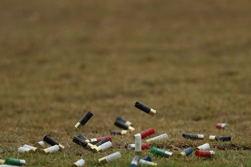Des cartouches vides lors d'une épreuve de tir le 10 août.