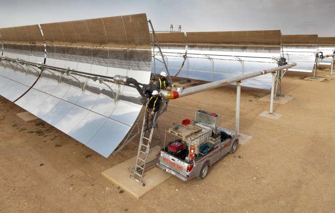 La centrale thermosolaire d'Ain Beni Mathar, au Maroc, est exploitée par Abengoa, le27 mars 2012.
