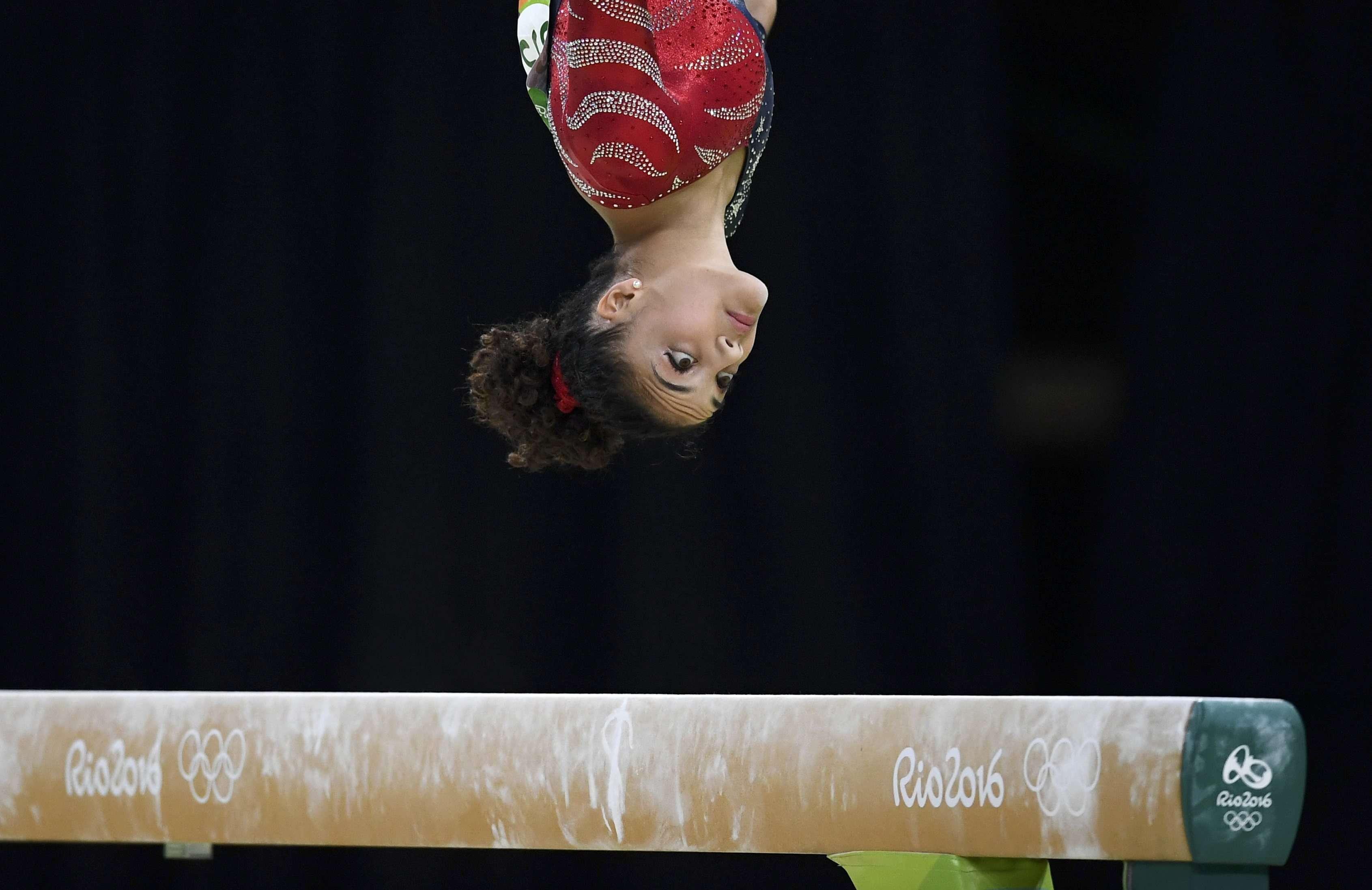 La gymnaste américaine Lauren Hernandez sur la poutre le 7 août.