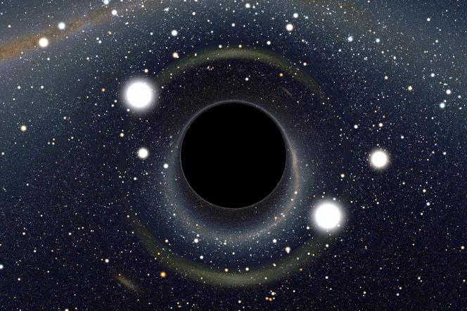 Simulation des distorsions optiques causées par la grande masse d'un trou noir devant le Grand Nuage de Magellan.