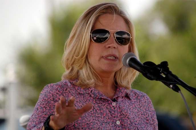 Liz Cheney, lors d'un meeting du Tea Party à Emblem, dans le Wyoming, le 24 août 2013.