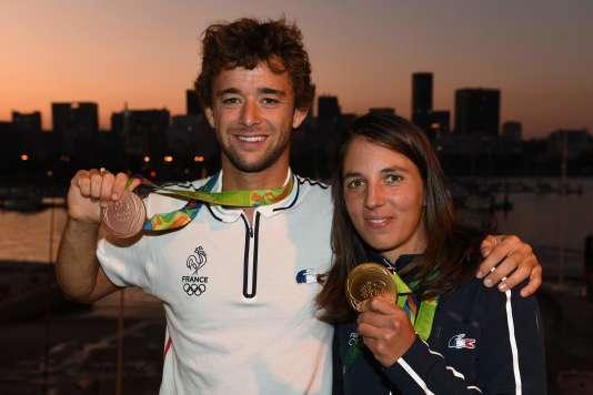 Pierre Le Coq et Charline Picon, dimanche 14 août, à Rio de Janeiro.